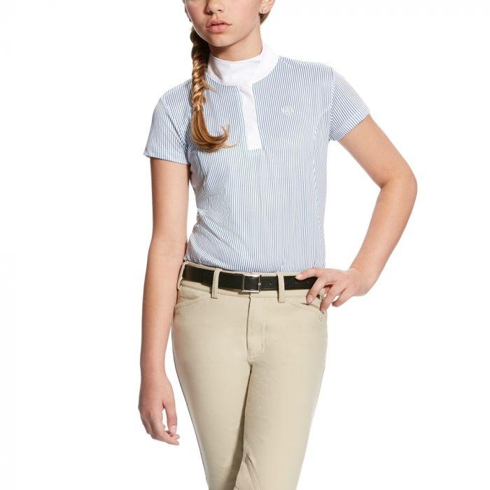 Ariat Aptos Showshirt - Girls - White with Blue Stripe