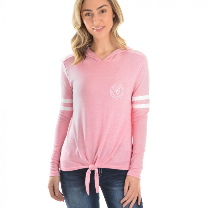 Pure Western Womens Abbey Tie Front Hooded Top