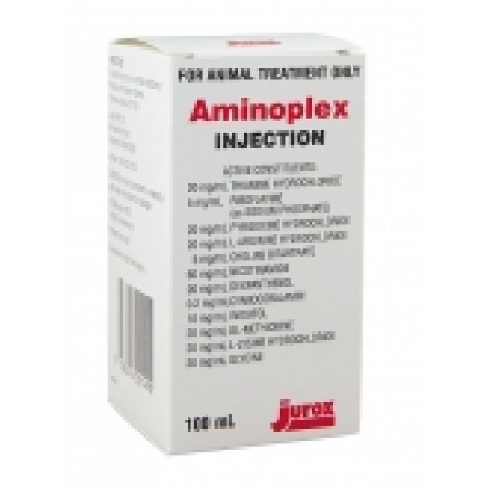 Jurox Aminoplex - Vitamin and amino acid injection supplement for use in cattle, horses, dogs and cats as an aid in the treatment of debilitated animals and a supplement for working animals.