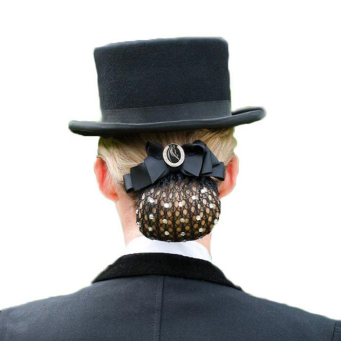 Show Bow Hair Net Black Horsehead w/Crystals
