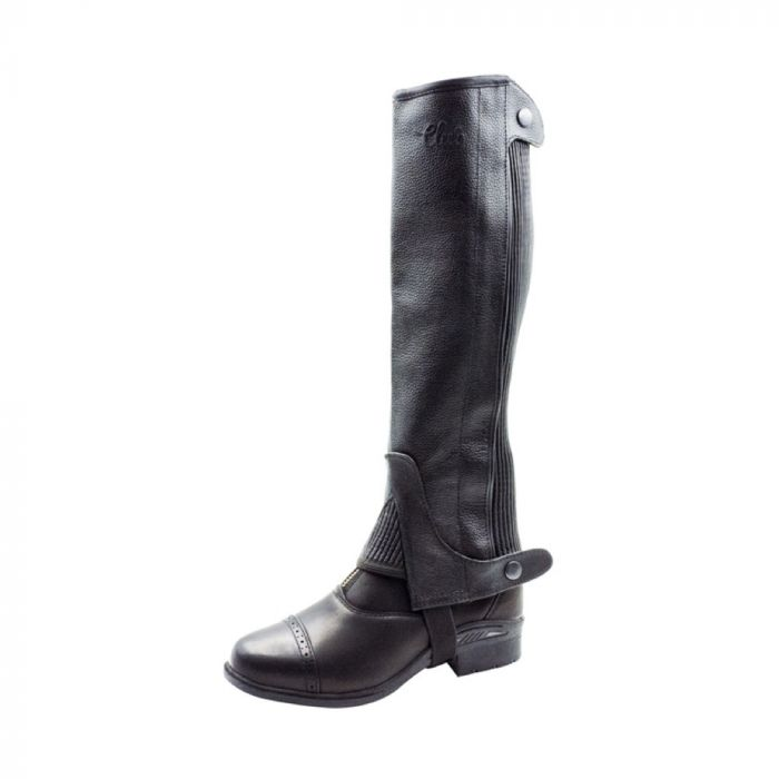 Club Collection Leather Half Chaps - Black