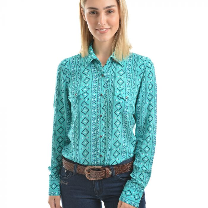 Pure Western Womens Desiree Print Long Sleeve Shirt