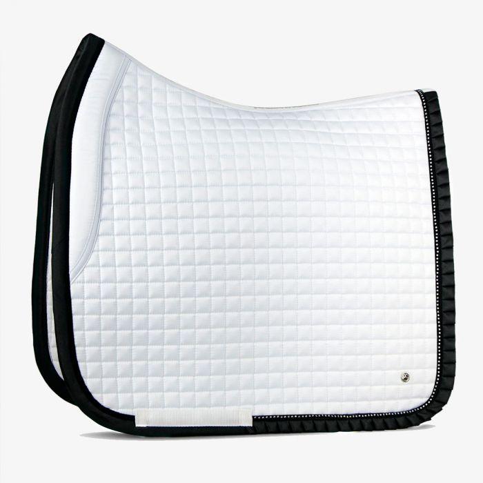 PSOS Ruffle Dressage Pad - White / Black - Cob