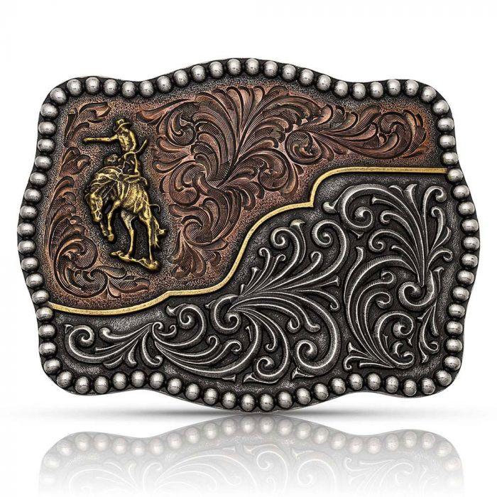 Belt Buckle - Montana Western Belt Buckle - Tri-Colour Filigree Road Ranch Bronc Attitude Buckle