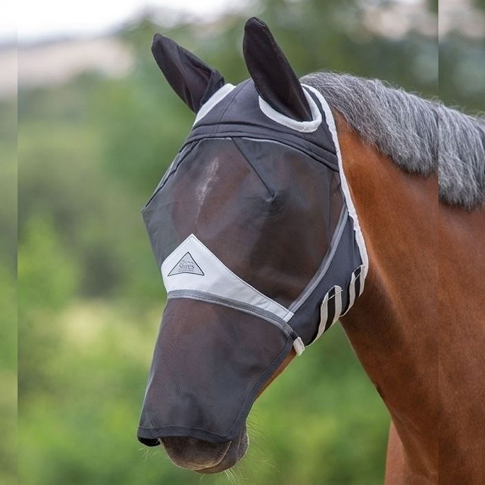 Shires Fine Mesh Fly Mask with Net Ears and Mesh Nose - Black