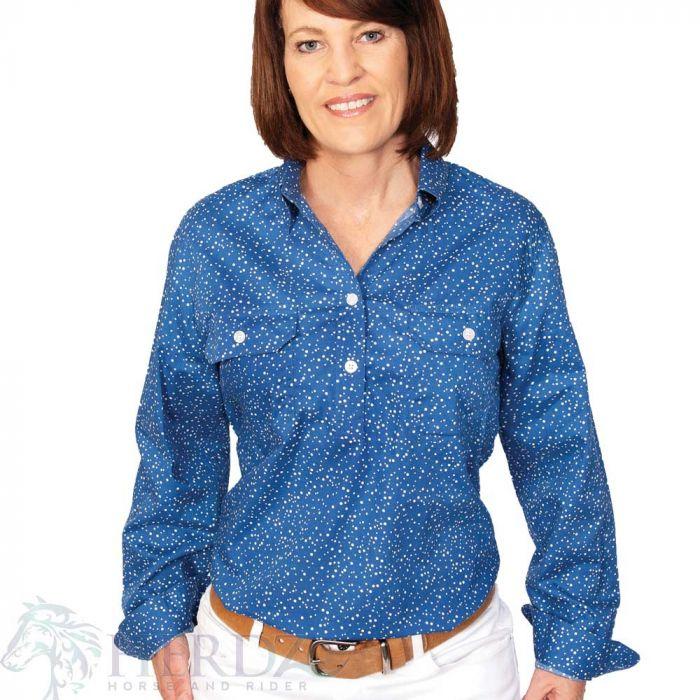 Just Country Georgie Print Shirt - 1/2 Button - Blue Spot
