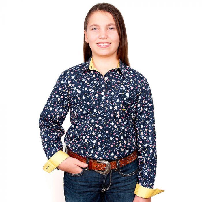 Just Country Harper Girls Work Shirt - 1/2 Button - Navy