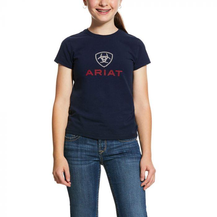 Ariat Girls HD Logo Tee - Navy