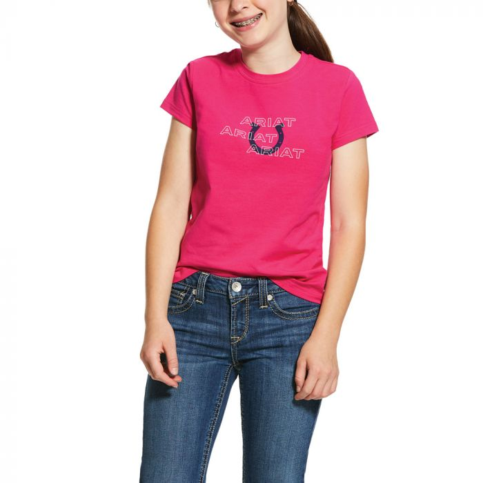 Ariat Girls Puff Print Logo Tee - Beet Pink