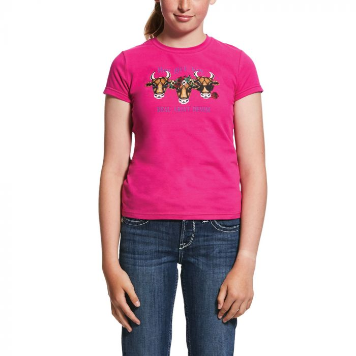 Ariat Girls Real Hay Girl Tee - Rose Hibiscus