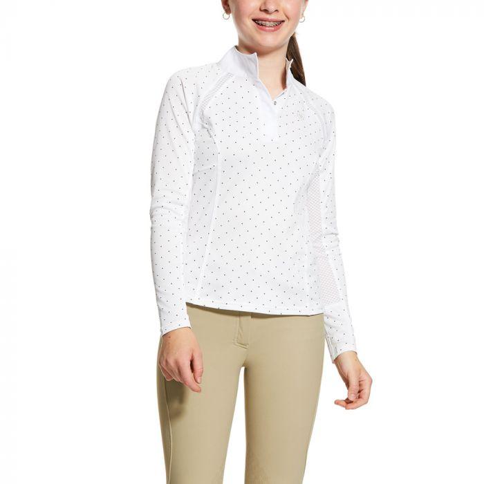 Ariat Girls Sunstopper 2.0 Show Shirt - White / Plum Grey Dot
