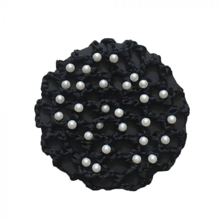Huntington Hair Net with Pearls - BLK