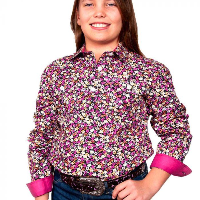 Just Country Harper Girls Work Shirt - 1/2 Button - Black