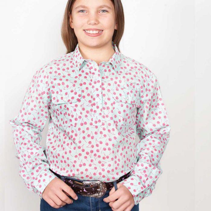 Just Country Harper Girls Work Shirt - 1/2 Button - Mint Cherry