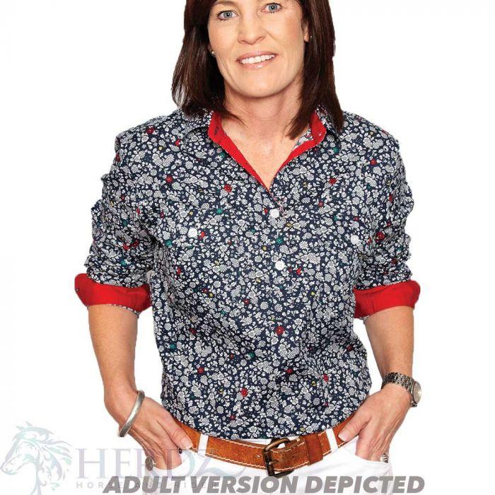 Just Country Harper Girls Work Shirt - 1/2 Button - Navy/White