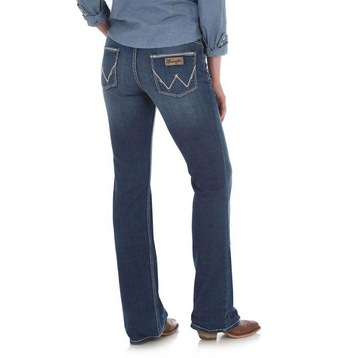 Wrangler Womens Indigo Retro Mid Rise Boot Cut Jeans - Mae - Back