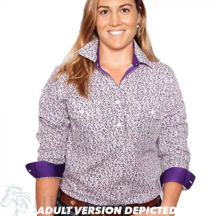 Just Country Harper Girls Work Shirt - 1/2 Button - White/Purple