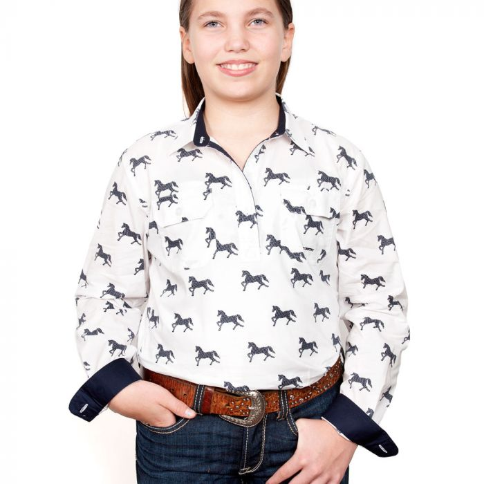 Just Country Harper Girls Work Shirt - 1/2 Button - White Horses