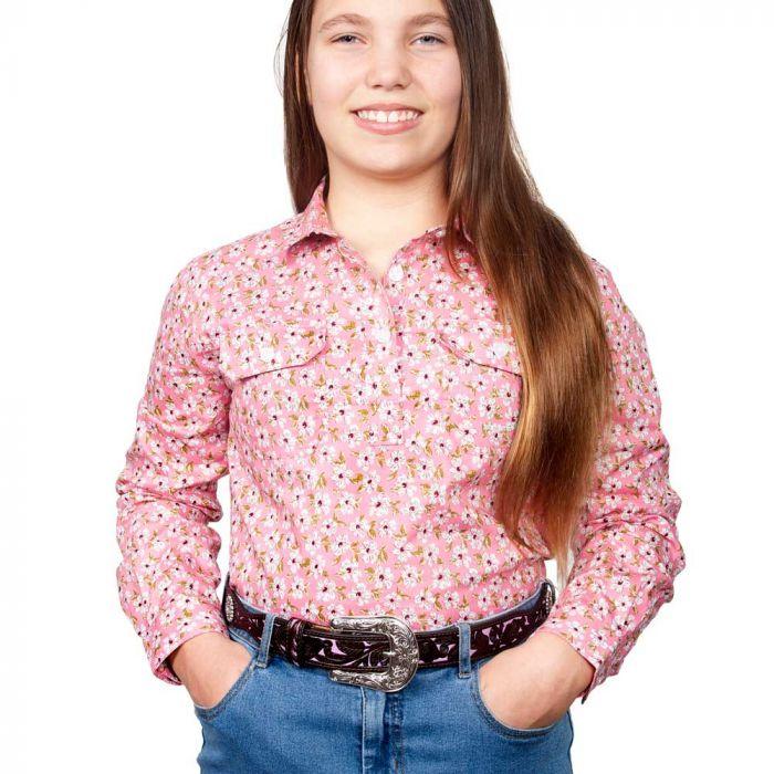 Just Country Harper Girls Work Shirt - 1/2 Button - Pink Floral