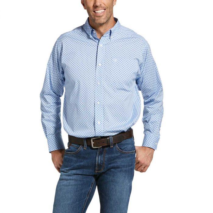 Ariat Men's Jeanwood Stretch Classic Fit Shirt - Oxford Blue