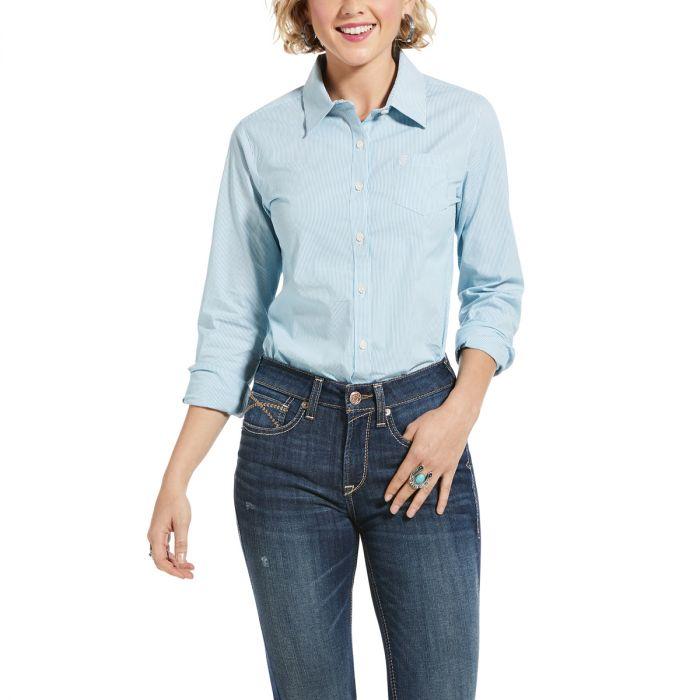 Ariat Women's Wrinkle Resistant Kirby Stretch Shirt - Periscope Stripe