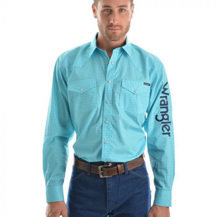 Wrangler Mens Logo Magnus Long Sleeve Shirt