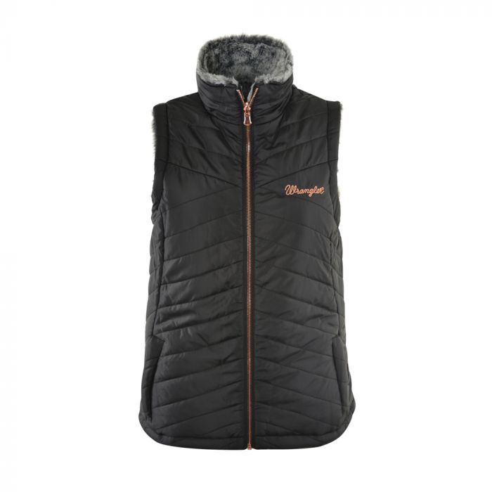 Wrangler Womens Melissa Reversible Vest - Black / Grey - Sz XS & 3XLOnly