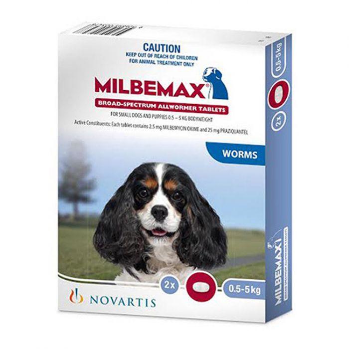 Milbemax Dog Allwormer 0.5 - 5 KG 2 Tablets