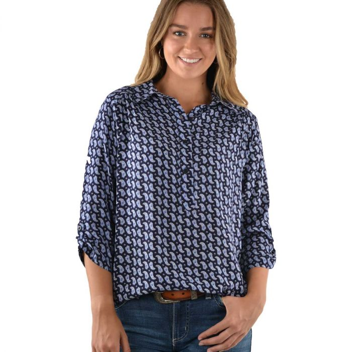 Wrangler Womens Natalie Print 3/4 Sleeve Shirt
