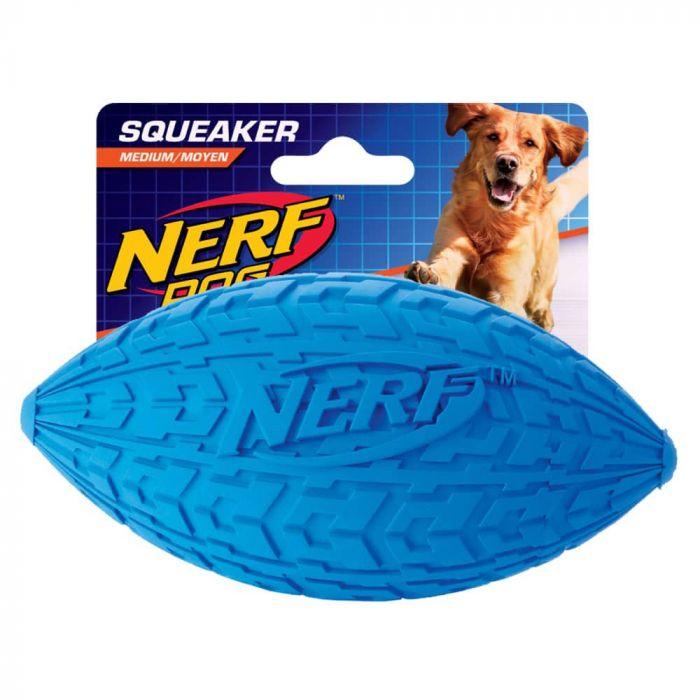 Nerf Dog Squeaker Tire Football - Medium Blue