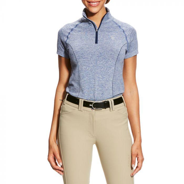Ariat Ladies Odyssey Seamless 1/4 Zip - Short Sleeve - Indigo Fade Heather