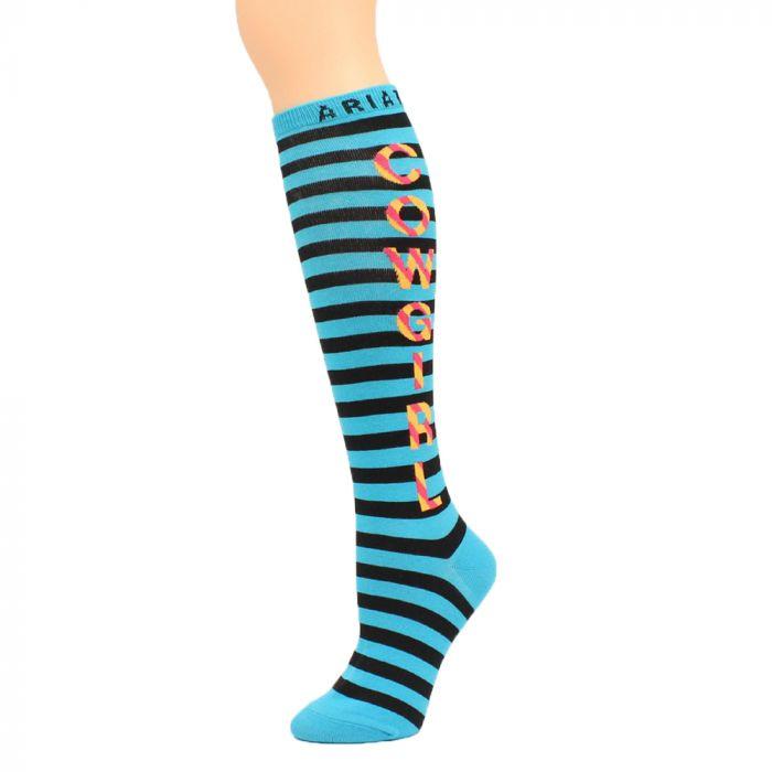 Ariat Socks - Over the Calf - Turquoise-Black