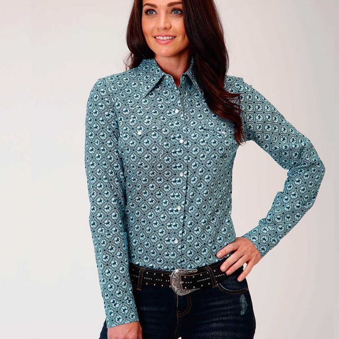 Roper Ladies L/S Shirt Amarillo Collection - Blue