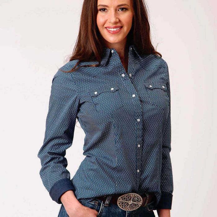 Roper Ladies L/S Shirt West Made Collection - Blue