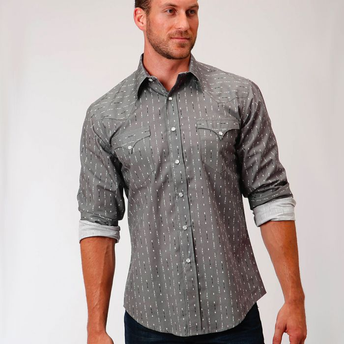 Roper Mens L/S Shirt - West Made Collection - Grey