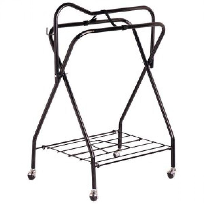 Portable Saddle Stand Black with Castors