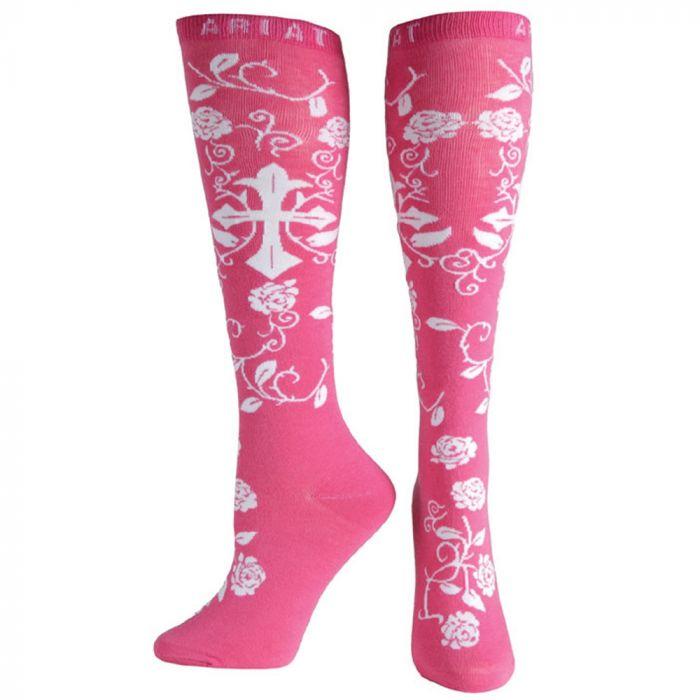 Ariat Ladies Pink & White Cross Knee Sock