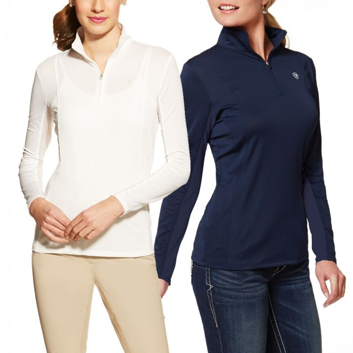 Ariat Sunstopper Ladies 1/4 Zip Top - White and Navy