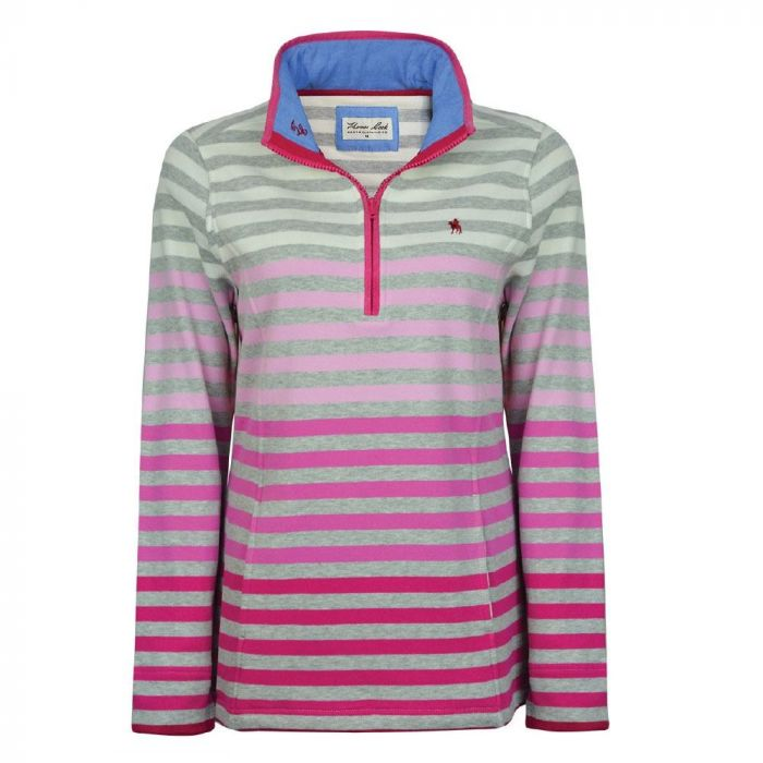 Thomas Cook Womens Meadow Stripe 1/4 Zip Neck Rugby