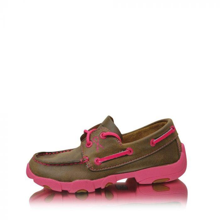 Twisted X Cowkids Pink Ribbon Lace Up Moc - Bomber/Neon Pink