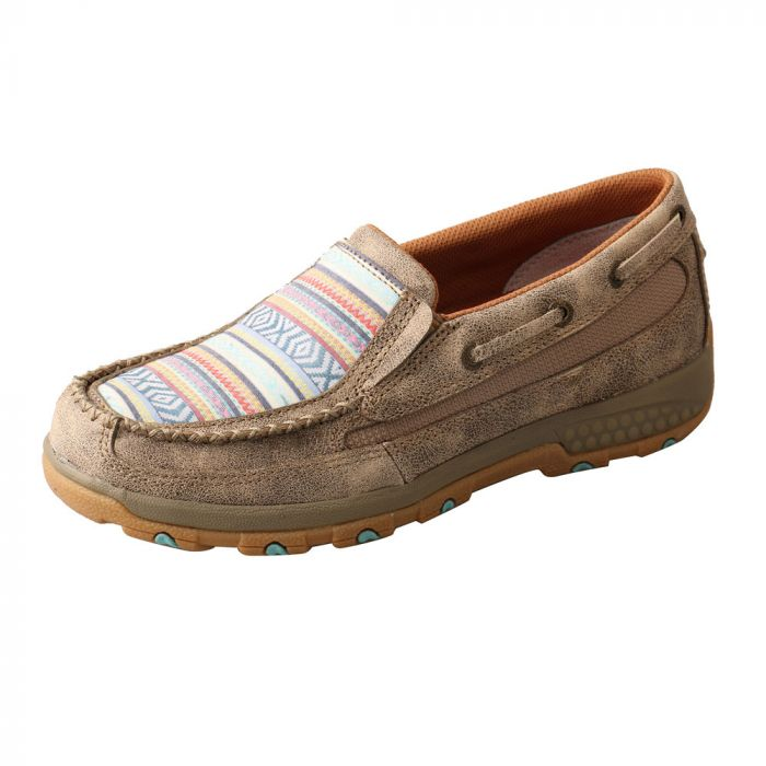 Twisted X Women's Boat Shoe Driving Moc with CellStretch - Dusty Tan / Multi