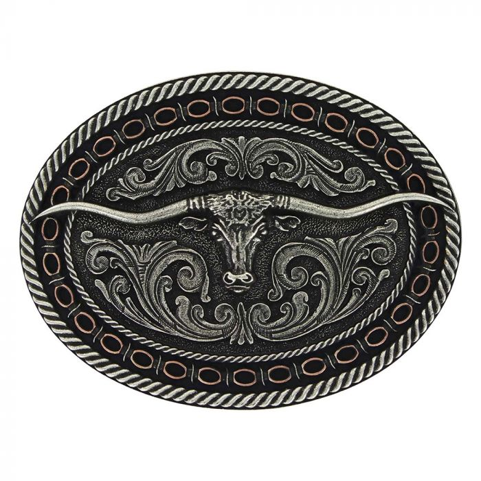 Belt Buckle - Montana Western Belt Buckle - Two Tone Antiqued Round Barbed Longhorn Attitude Buckle