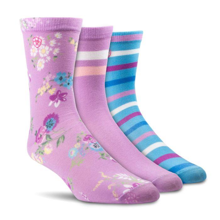 Ariat Ladies Violet Floral Multicolour  3-Pack Crew Socks