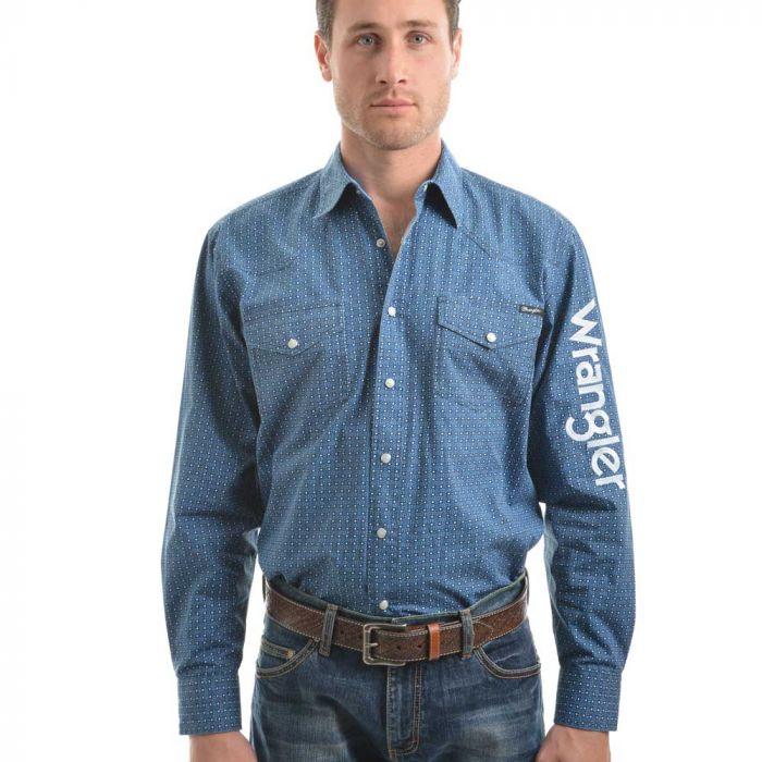 Wrangler Mens Logo Kade Print Long Sleeve Shirt