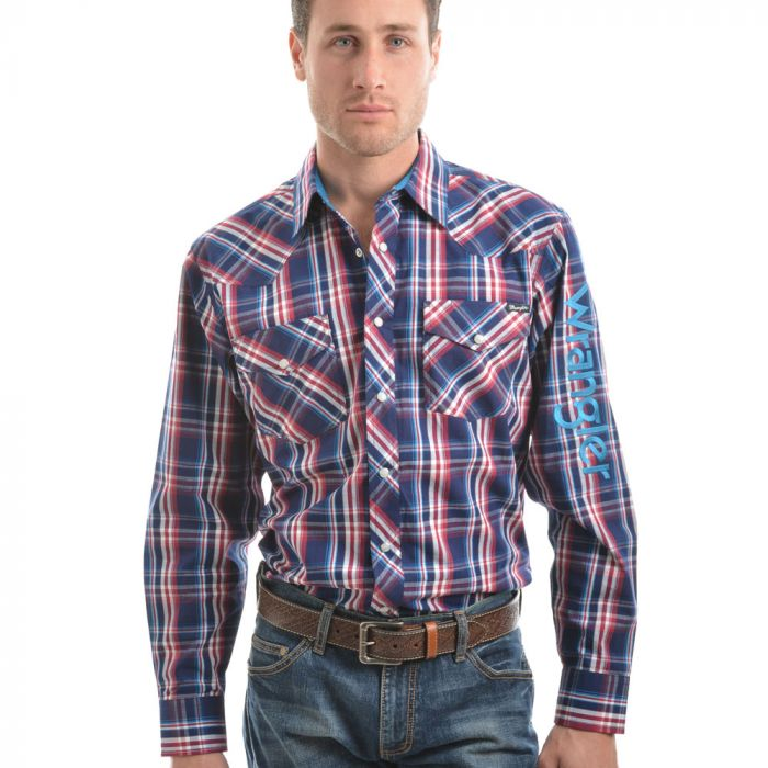 Wrangler Mens Logo Stirling Check Long Sleeve Shirt