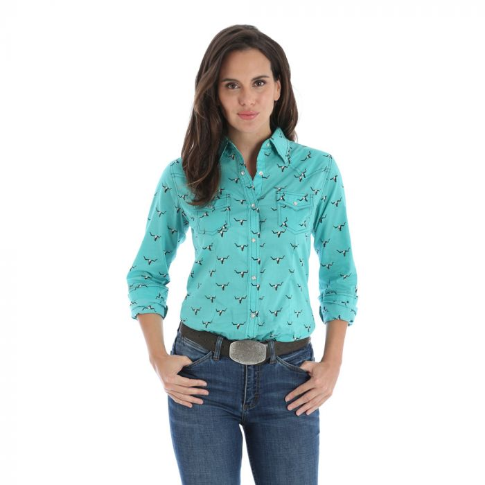 Wrangler Women's Western Print Long Sleeve Shirt