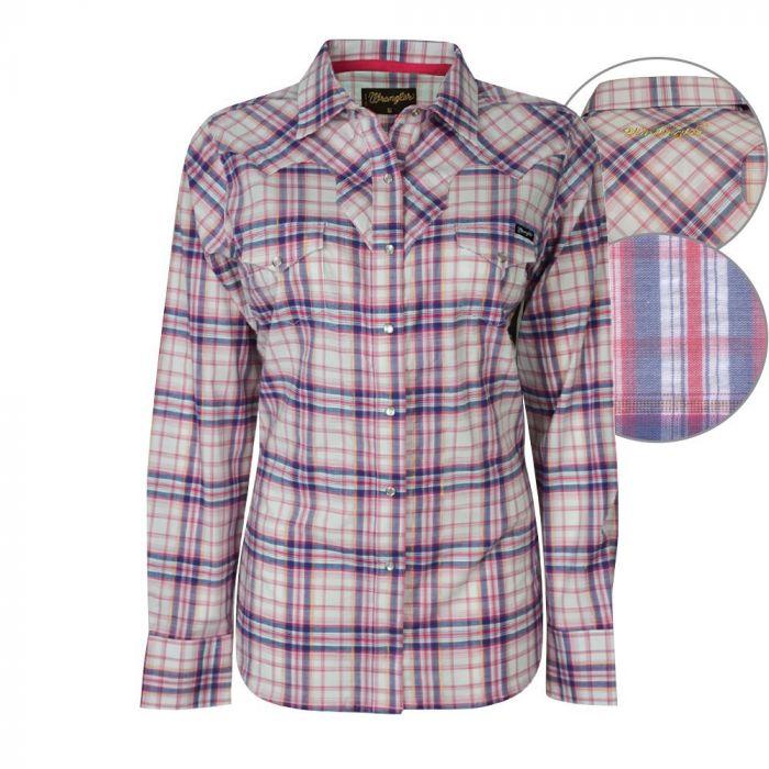 Wrangler Women's Elise Stretch Long Sleeve Check Shirt