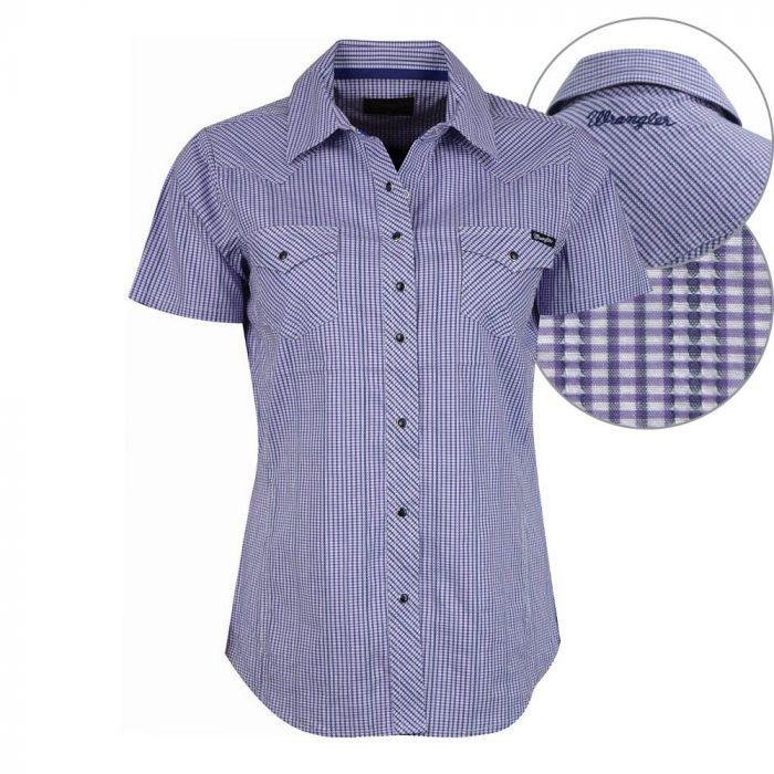 Wrangler Women's Stretch Isa Short Sleeve Check Shirt
