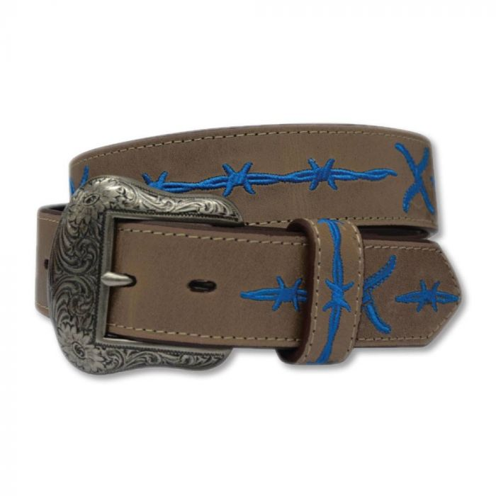 Twisted X Leather Belt - Brown / Cobalt Blue