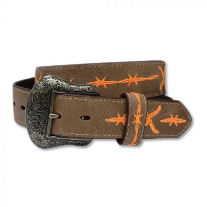 Twisted X Leather Belt - Brown / Orange